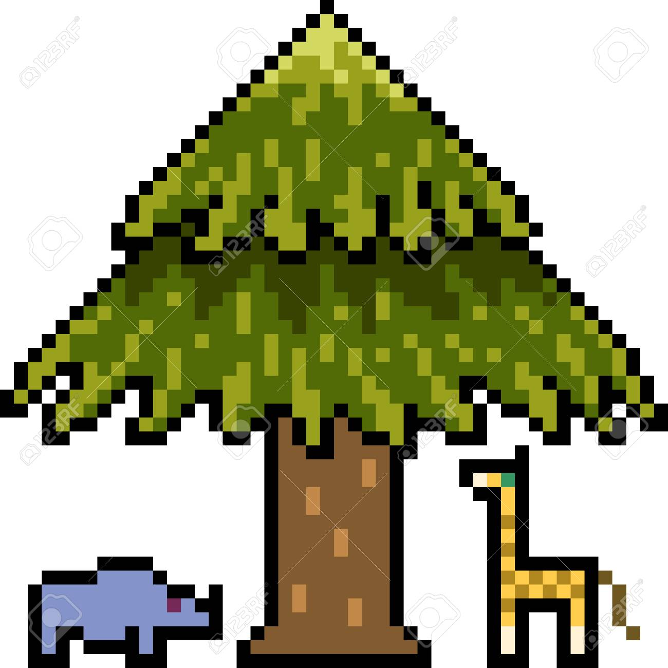 Vector Pixel Art Animal Under Tree Isolated