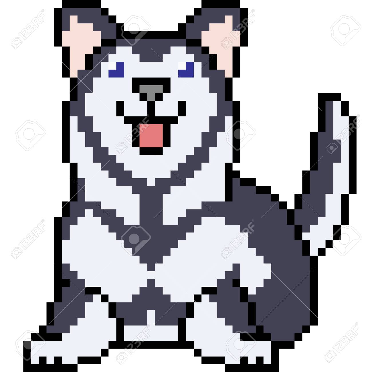 Vector Pixel Art Siberian Husky Isolated