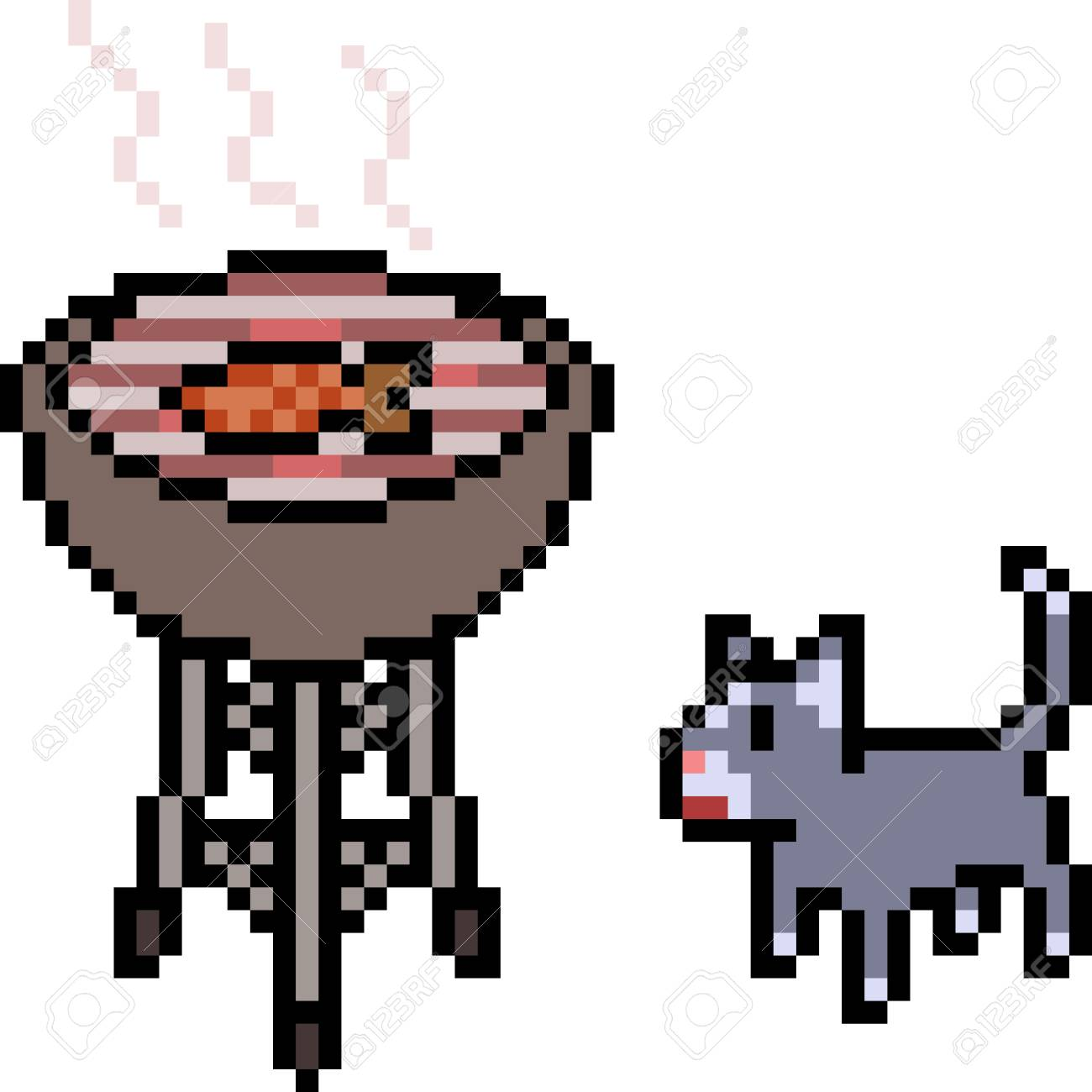Vector Pixel Art Cat Grilling Food Isolated