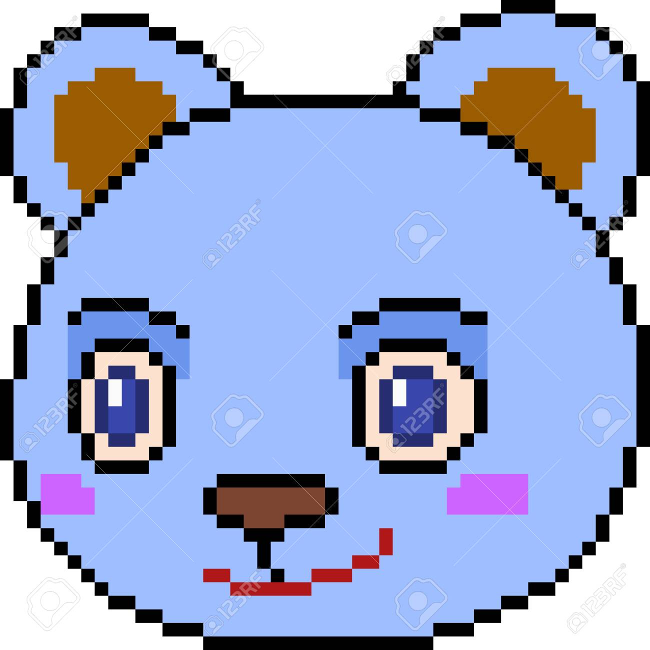 Vector Pixel Art Bear Face Isolated