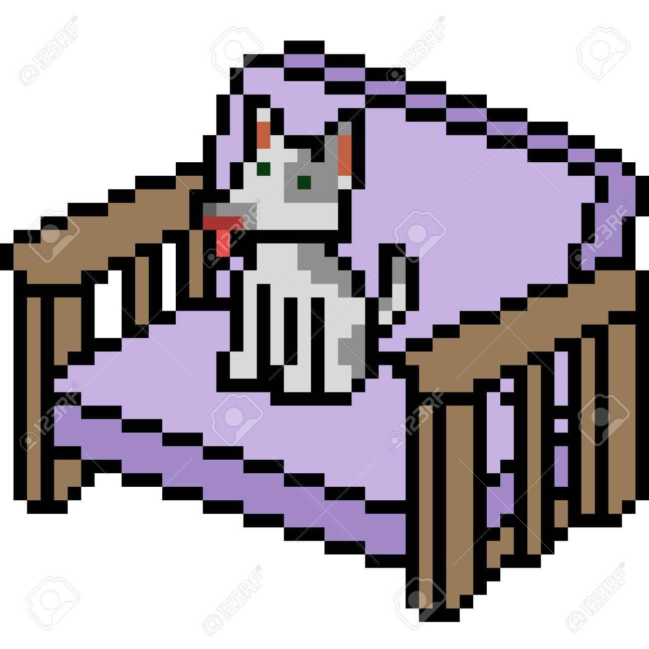 Vector Pixel Art Dog Sofa Isolated