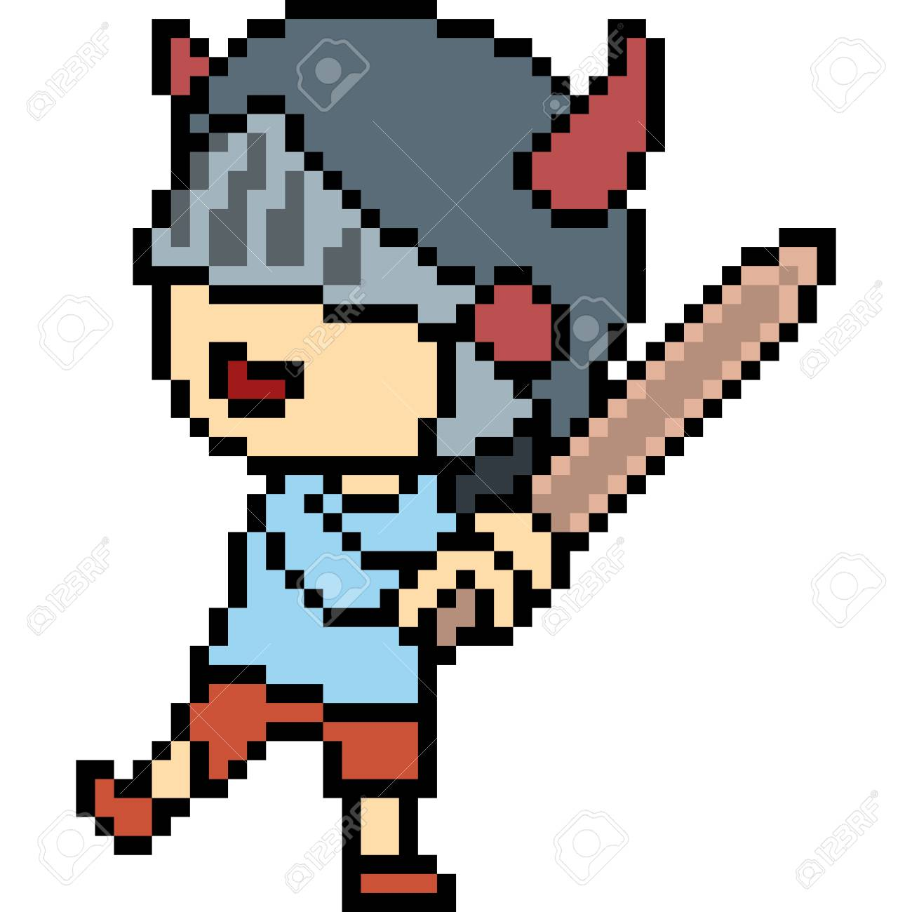 Vector Pixel Art Kid Play Isolated