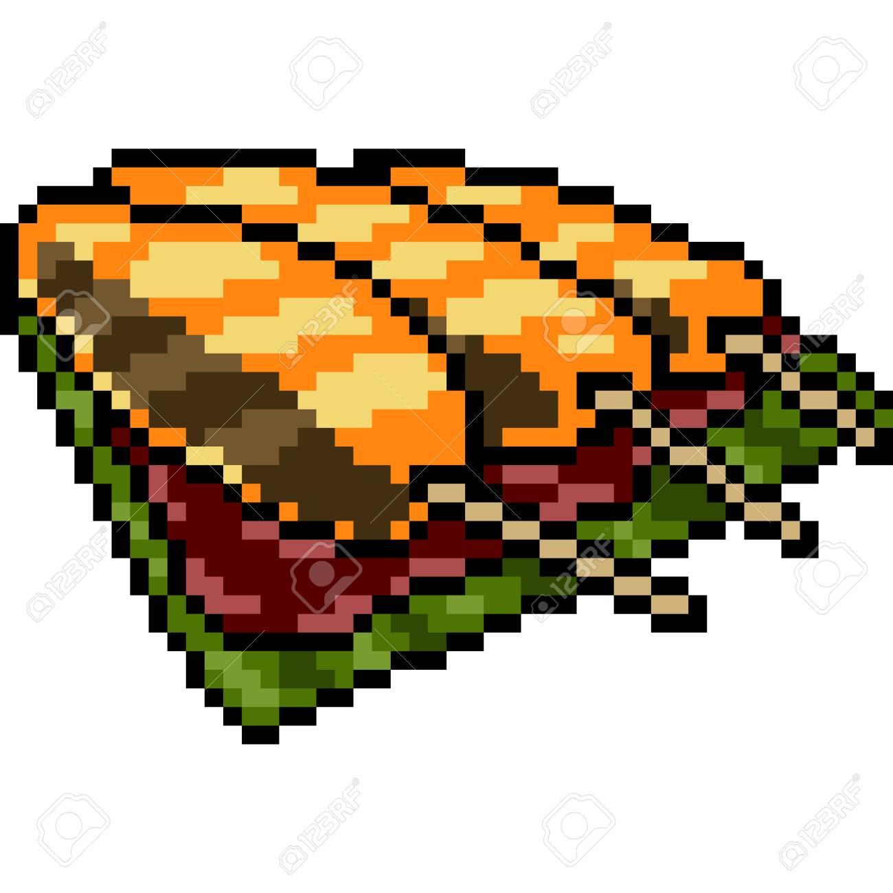 Vector Pixel Art Fish Stick Isolated