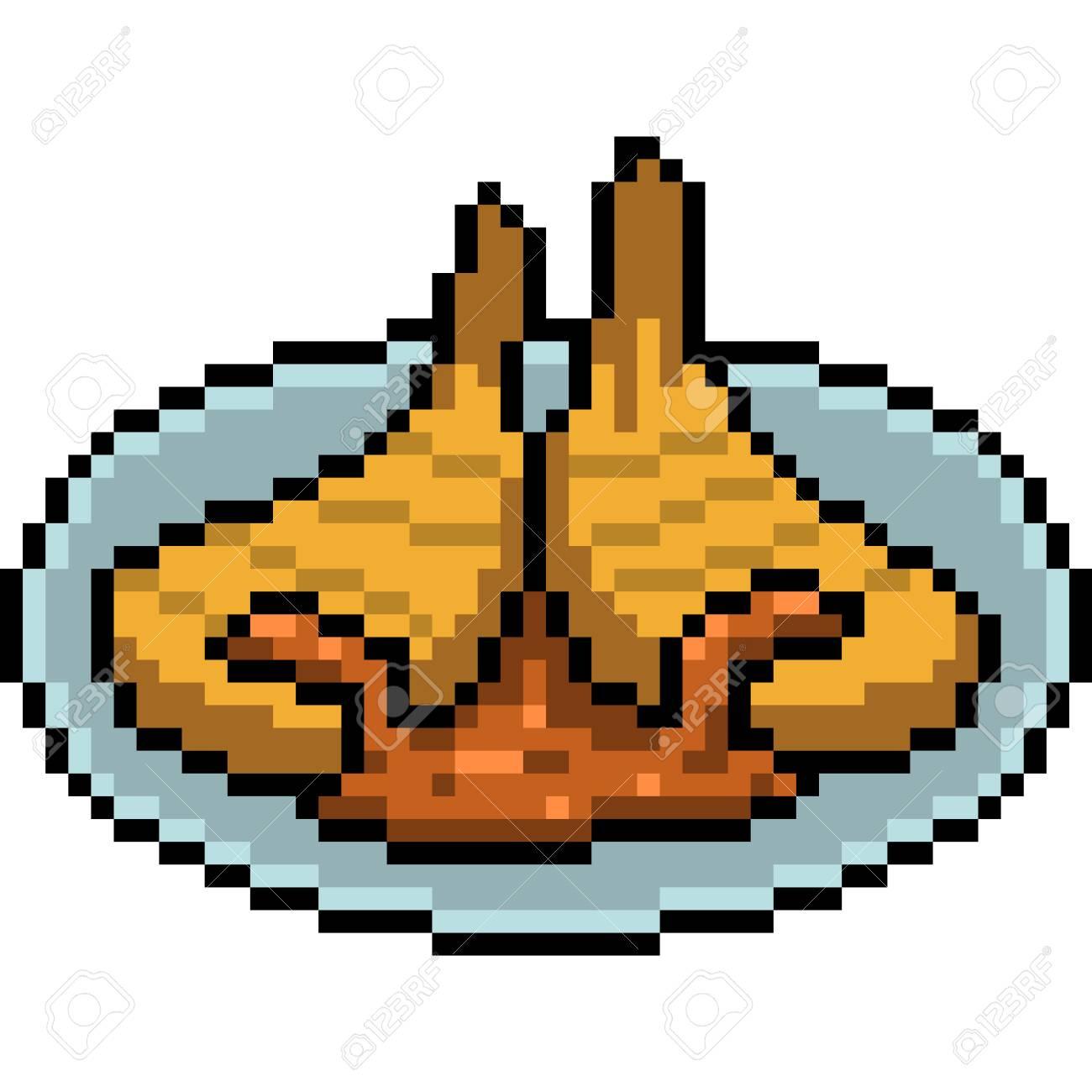 Vecteur Pixel Art Steak De Viande Isolé