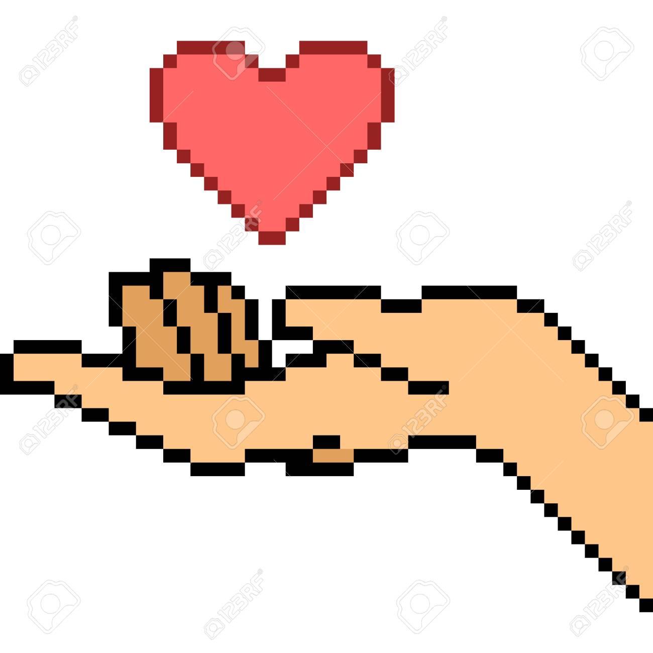 Vecteur Pixel Art Geste De Main Amour Isolé