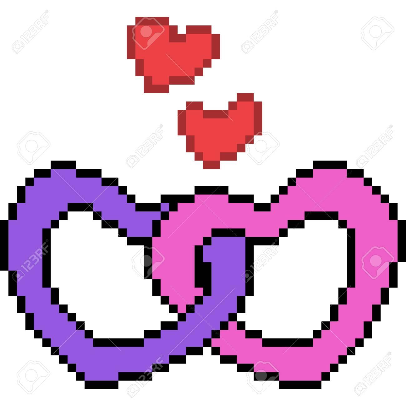 Vecteur Pixel Art Coeur Amour Isolé