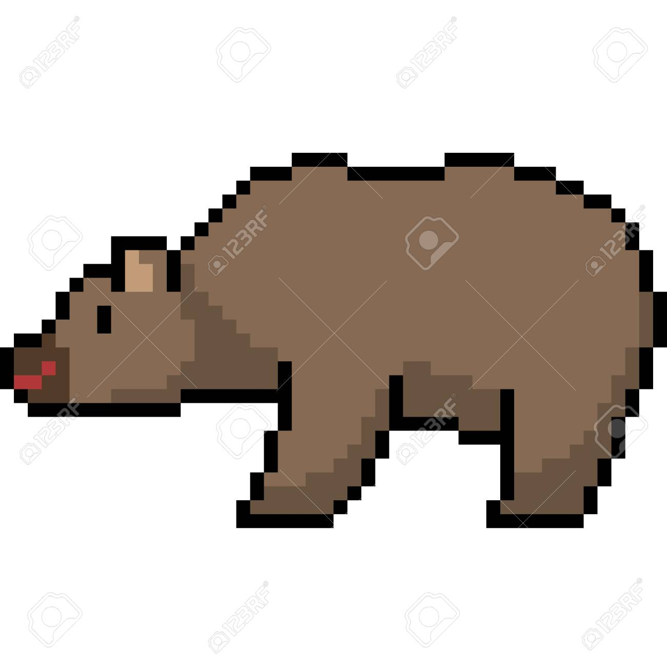 vector pixel art bear isolated royalty free cliparts vectors and