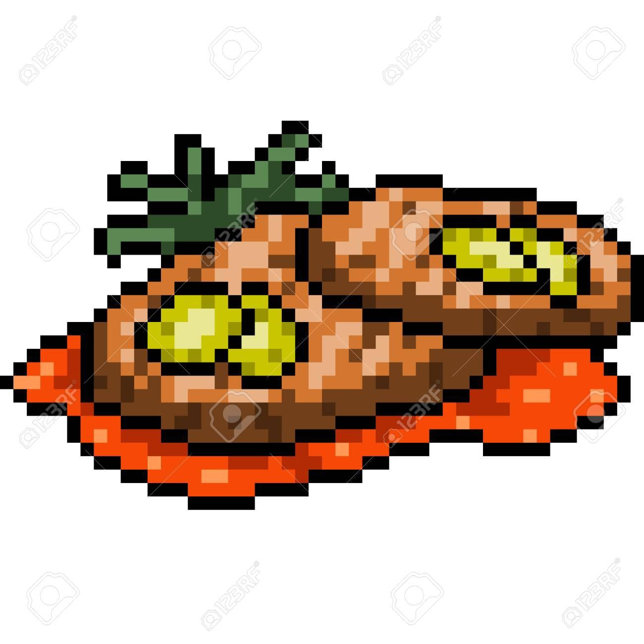 Vector Pixel Art Food Steak Isolated