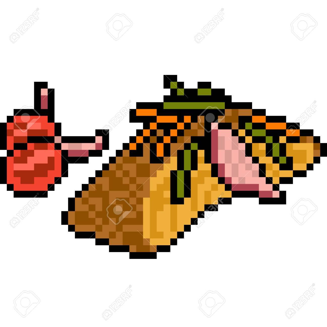 Vecteur Pixel Art Alimentaire De Poisson Steak Isolé