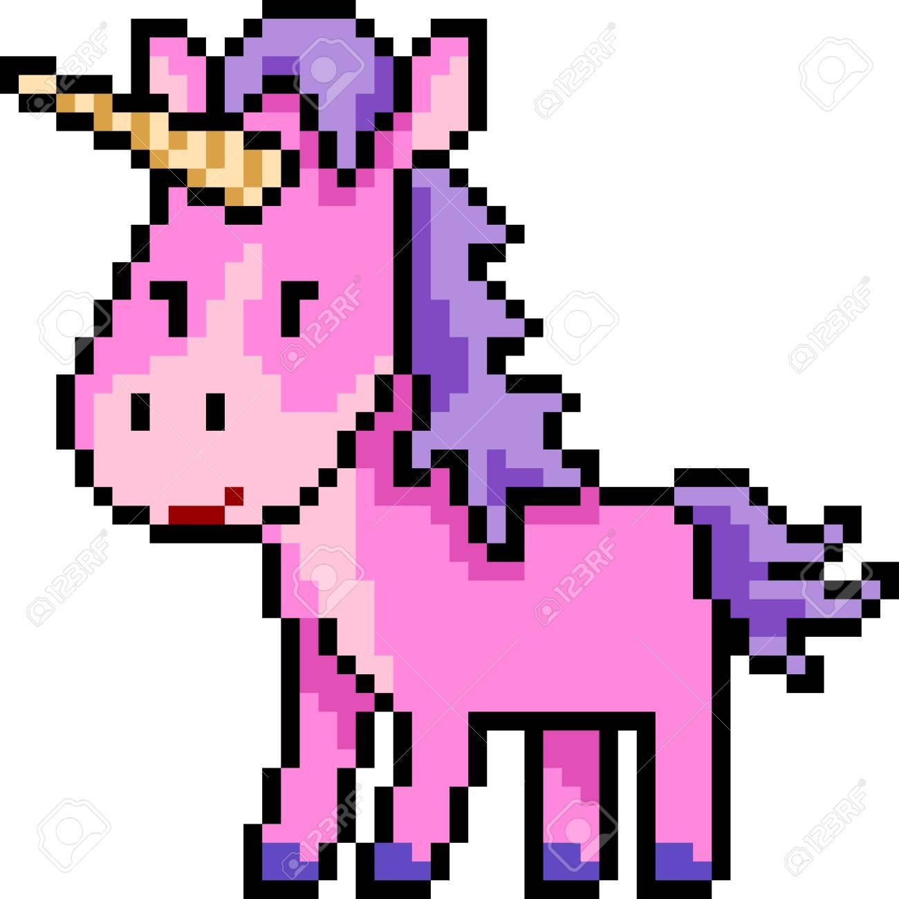 Vecteur Pixel Art Licorne Rose Isolé De Bande Dessinée