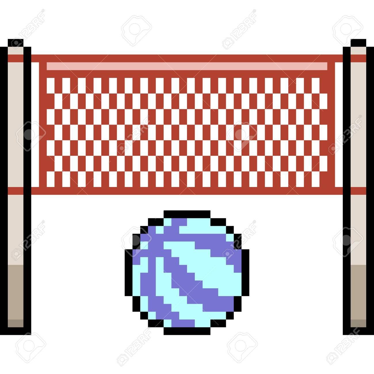 Vecteur Pixel Art Volley Ball Plage Dessin Animé Isolé