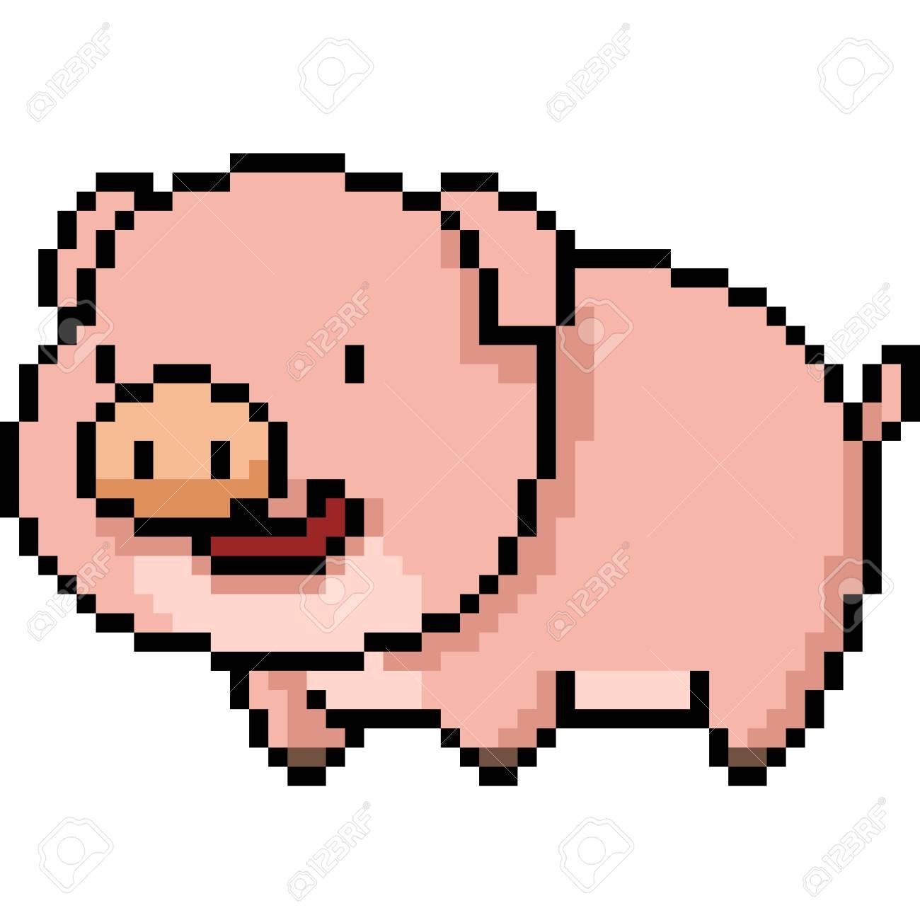 Vecteur Pixel Art Bande Dessinée De Porc Isolé
