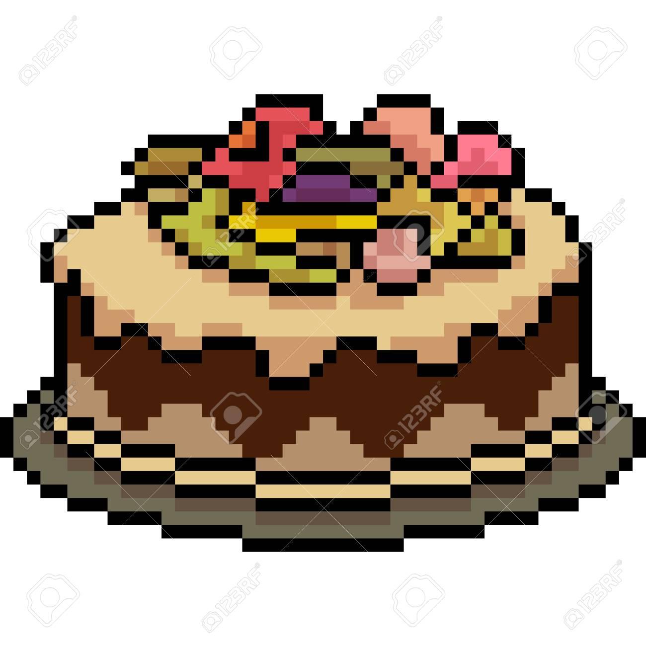 Vecteur Pixel Art Gâteau Gâteau De Dessert Doodle