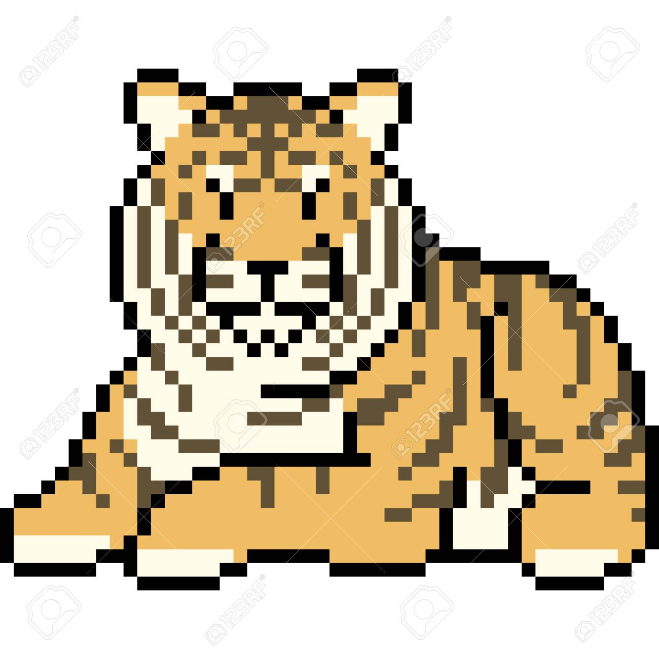 Vector Pixel Art Tiger Isolated Cartoon