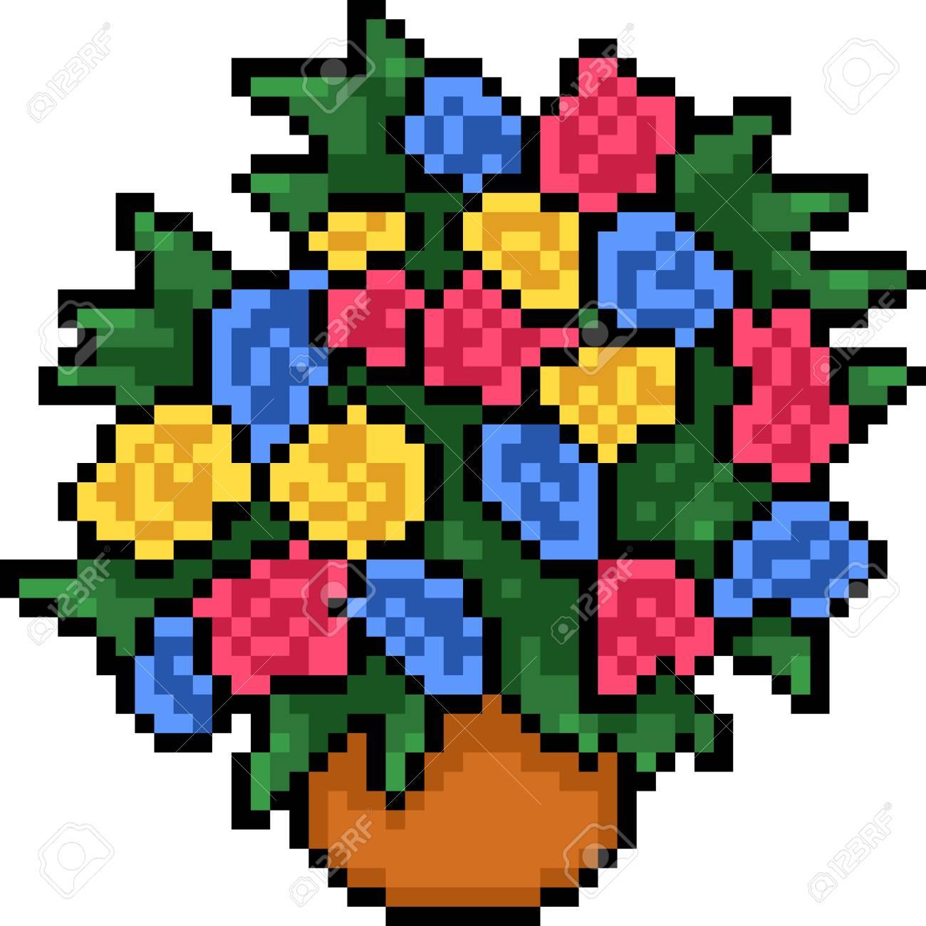 Vecteur Pixel Art Pot Coloré Fleur Dessin Animé Isolé