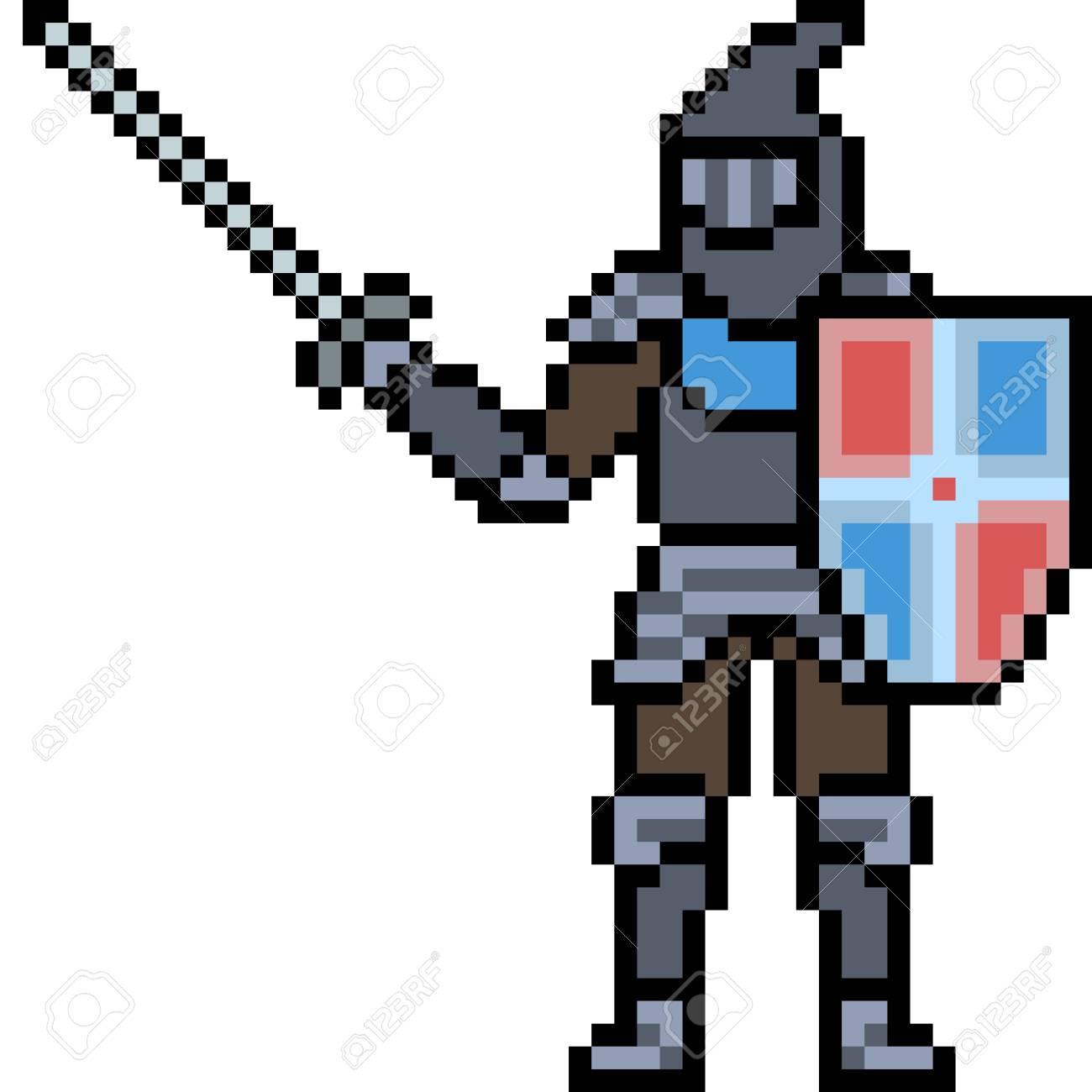 Vecteur Pixel Art Chevalier Dessin Animé Isolé Blanc
