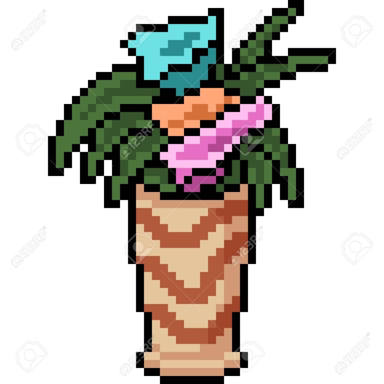 Vecteur Pixel Art Pot De Fleurs Dessin Animé Isolé