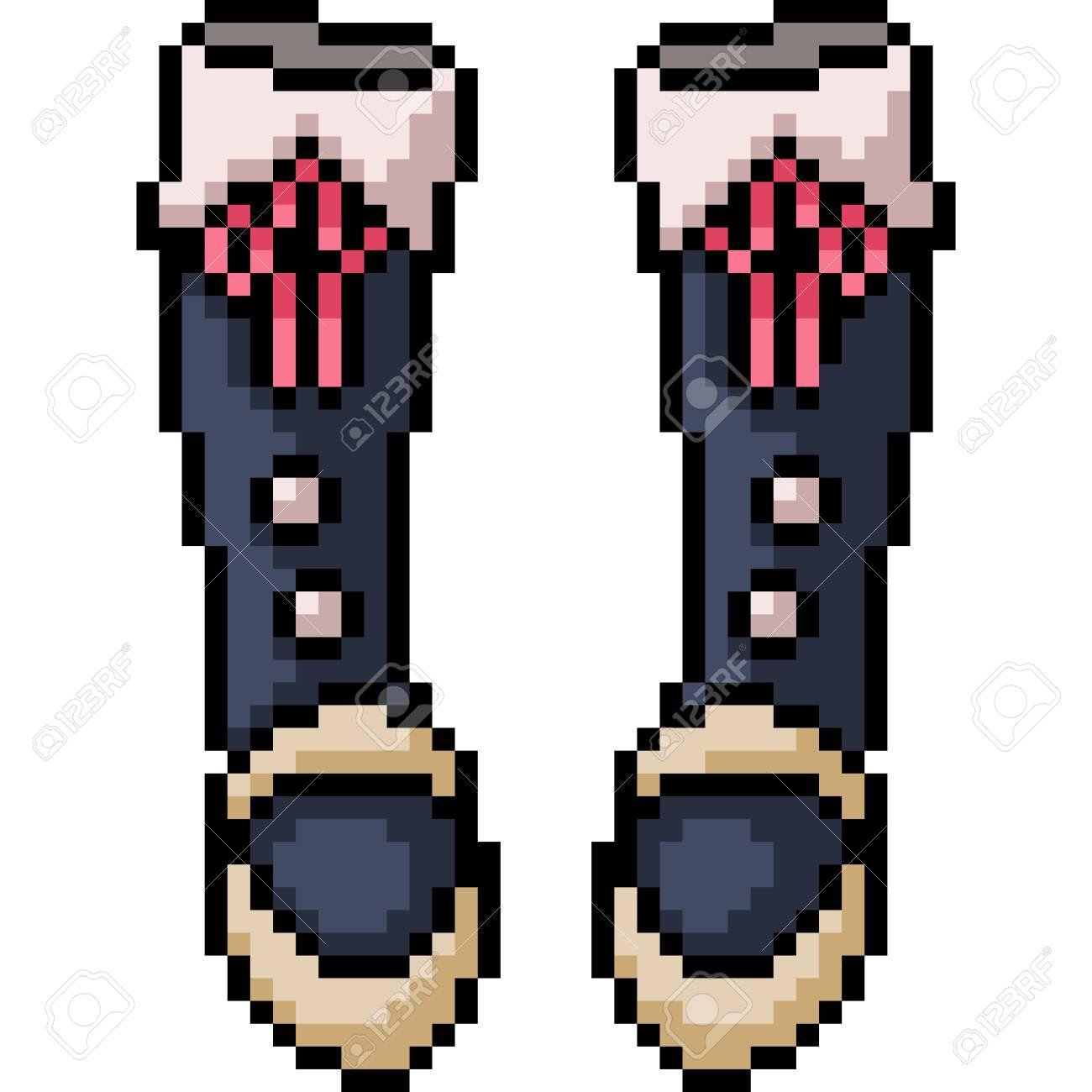 vector pixel art boots fashion isolated cartoon