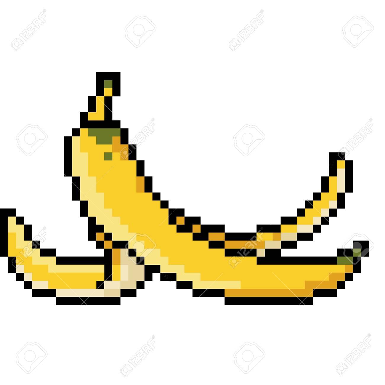 vector pixel art banana peel isolated cartoon - 108364521