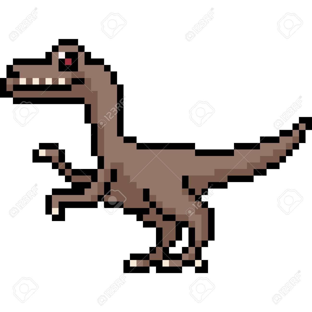 Vector Pixel Art Velociraptor Side Isolated Cartoon