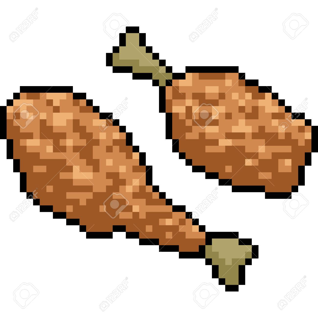 Vector Pixel Art Fried Chicken Isolated Cartoon