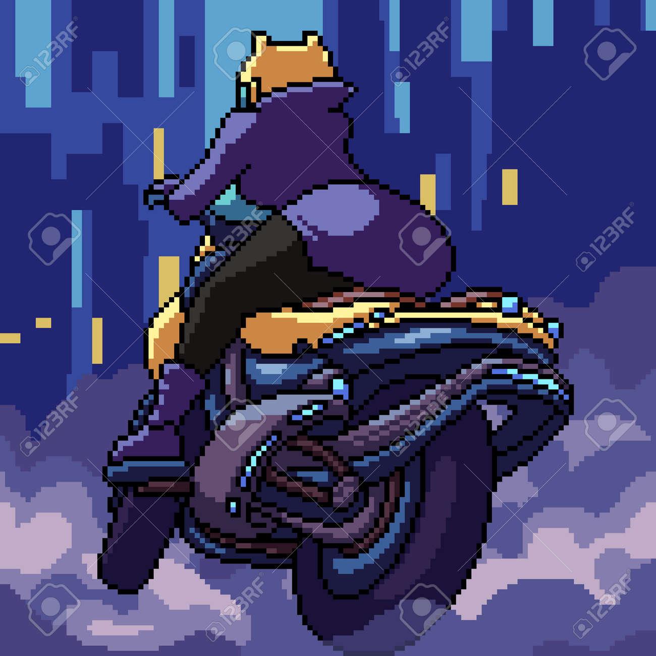 pixel art cyberpunk woman biker - 166187890