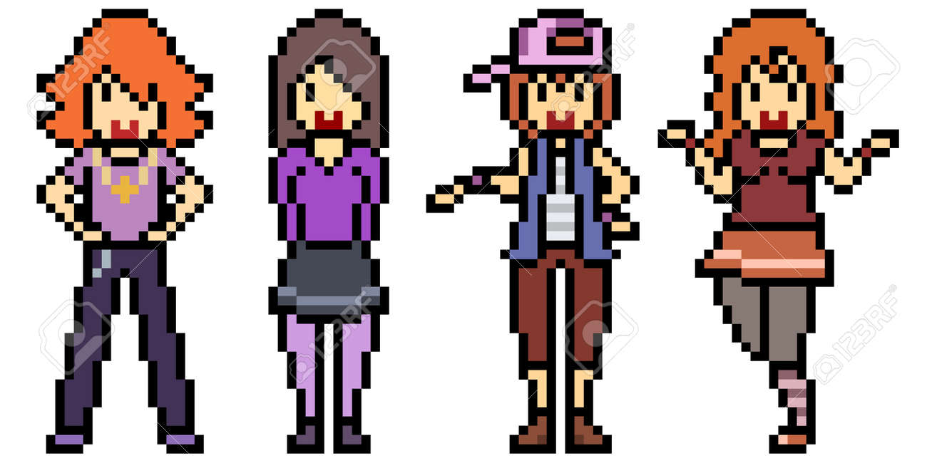 pixel art teenager group friend - 166184583