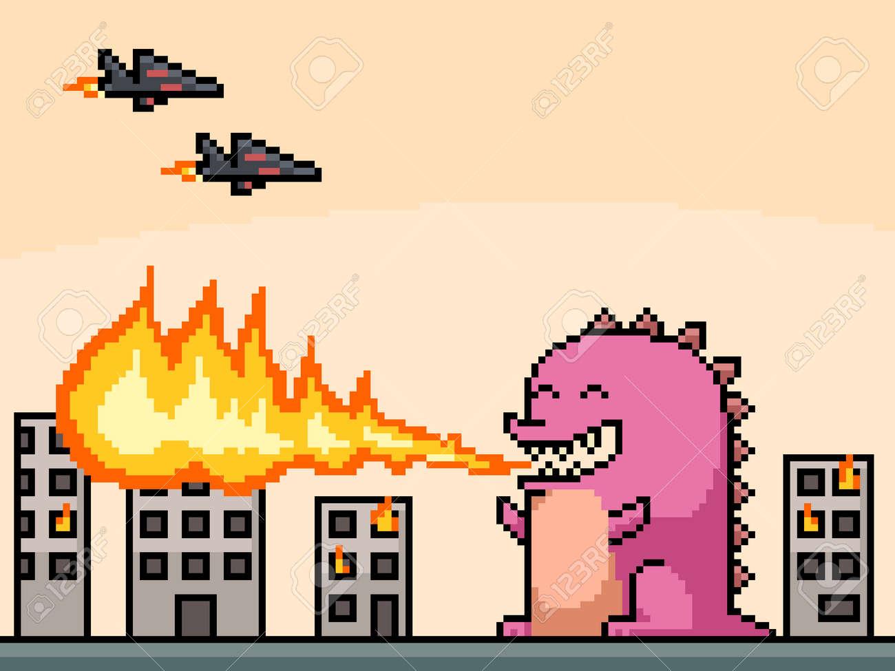 pixel art of monster burning town - 167375211