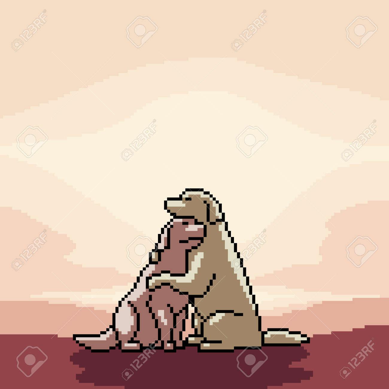 pixel art of romance dogs couple - 167375147