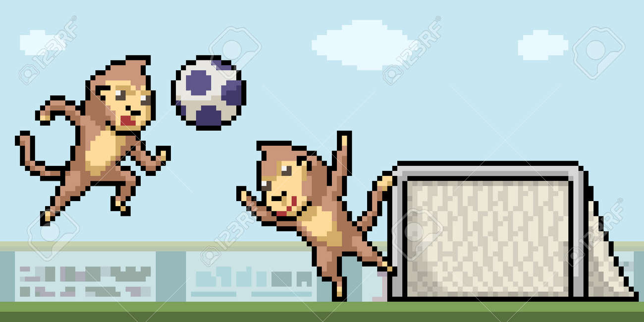 pixel art of monkey playing football - 167375116