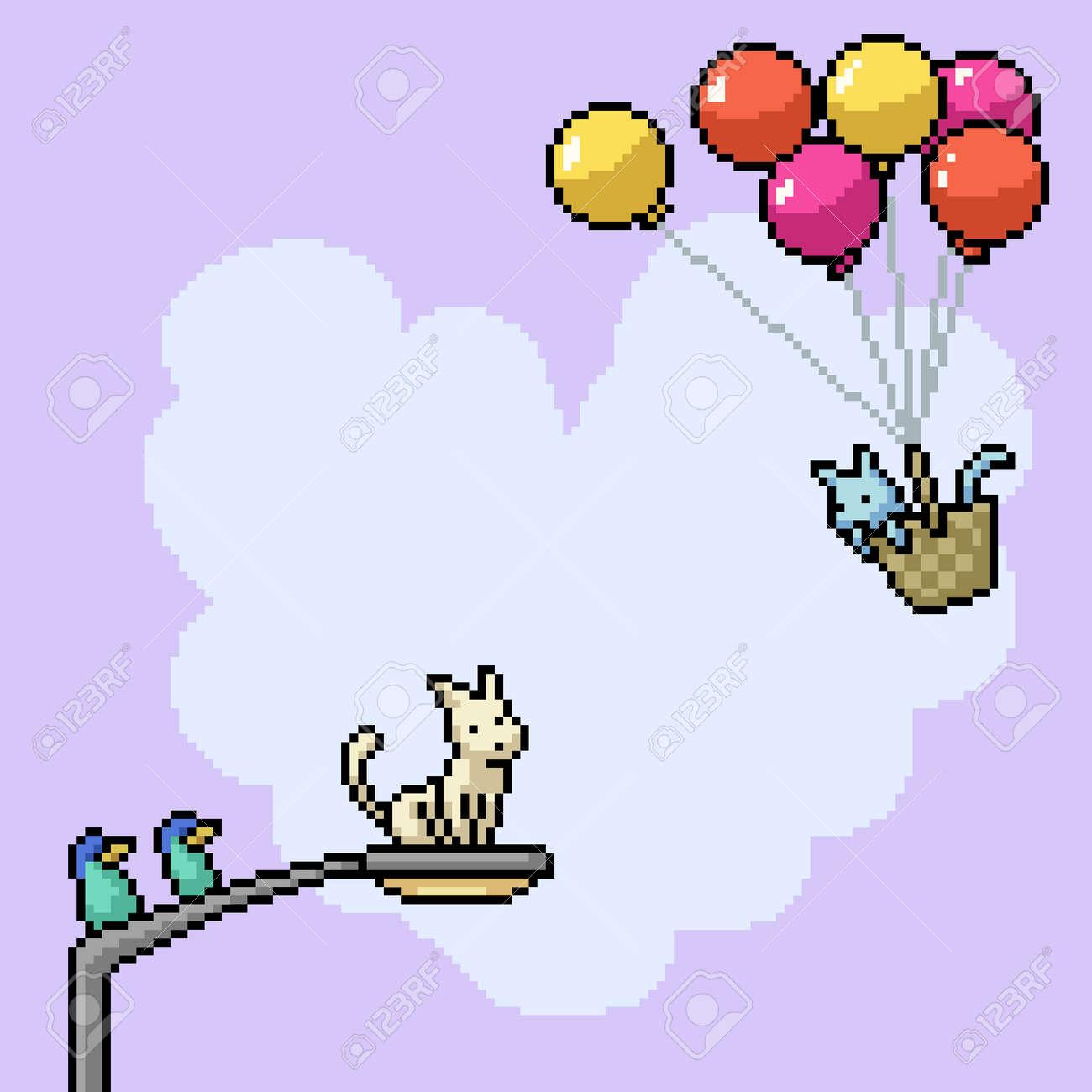 pixel art of romance cat couple - 169551158