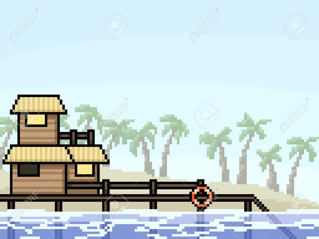 pixel art of vacation resort beach - 169439814