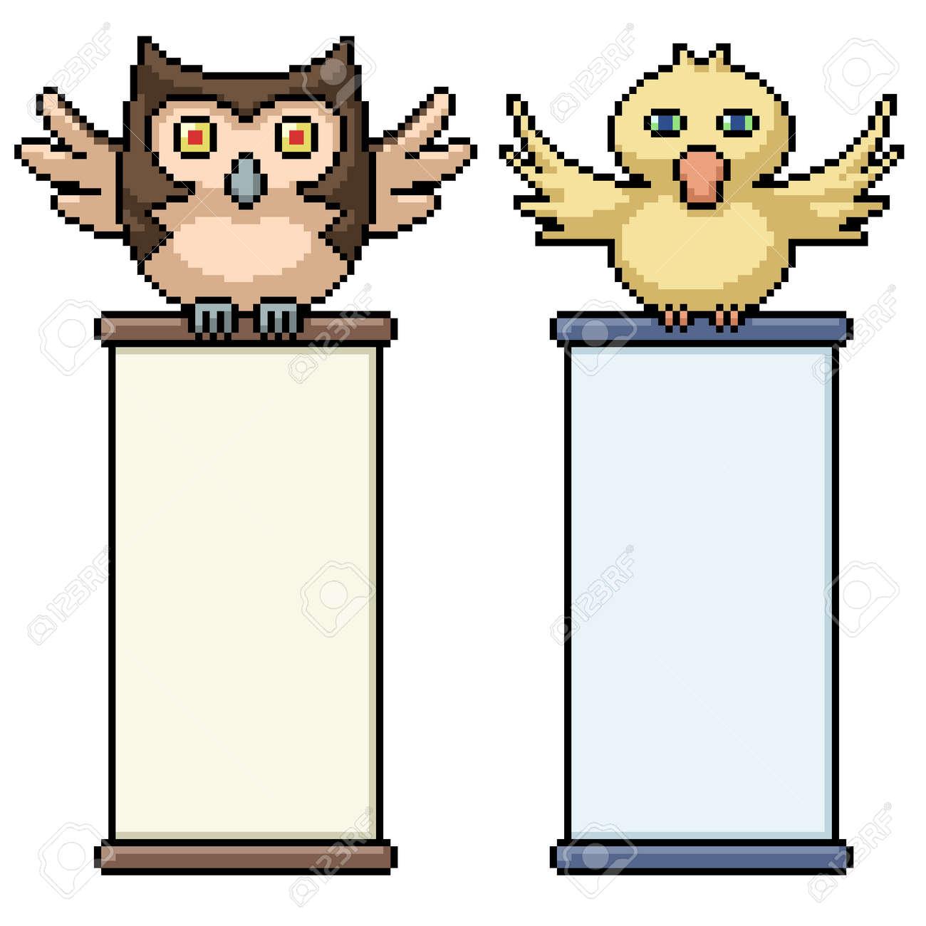 pixel art of bird holding scroll - 169439815