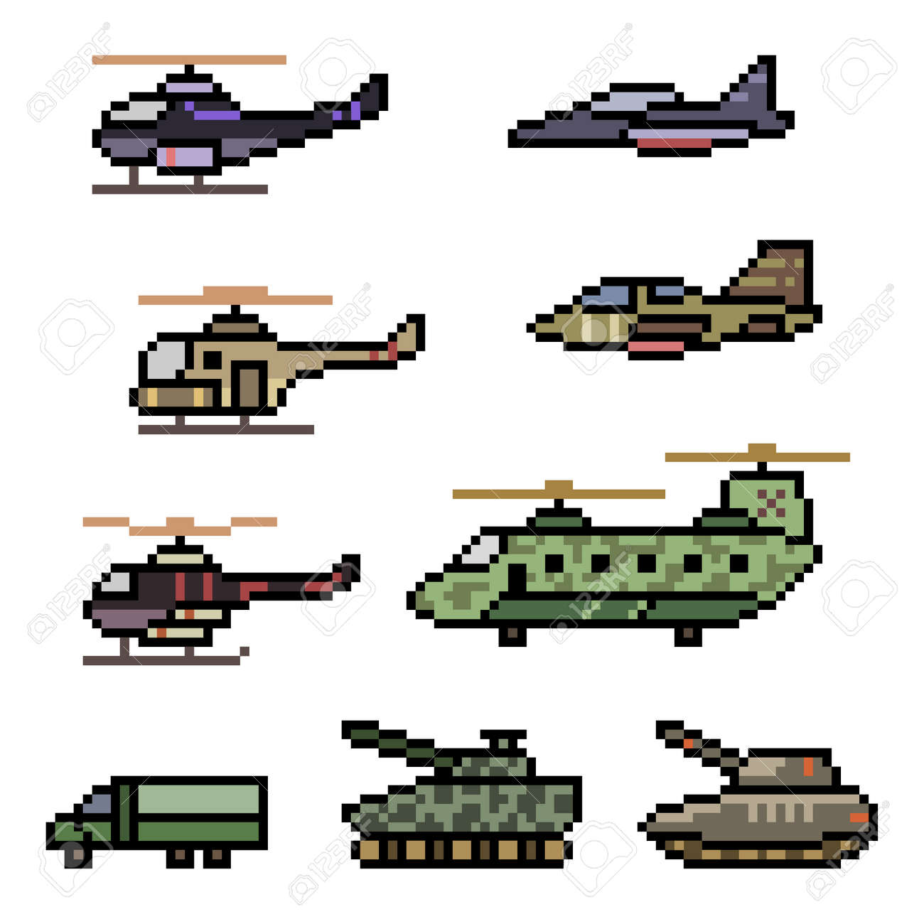 pixel art of military vehicle force - 169439818