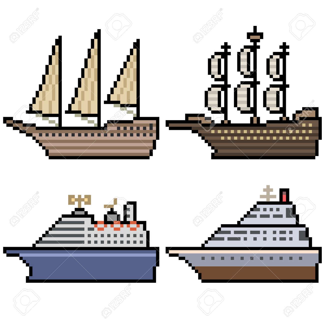 pixel art of big cruise ship - 169439823