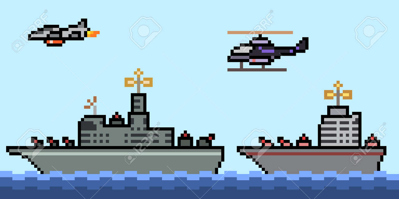 pixel art of military navy ship - 169439832