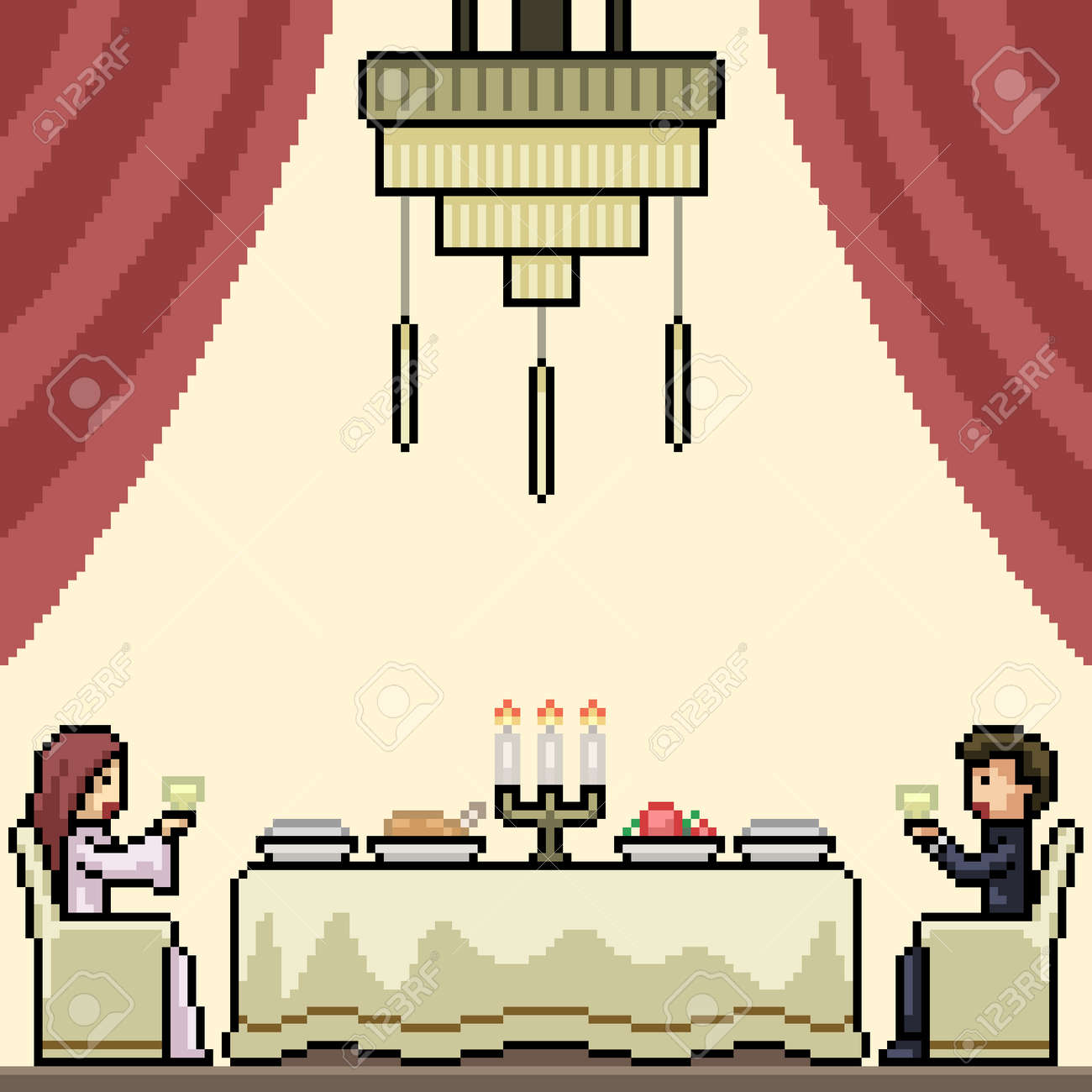 pixel art of luxury couple dinner - 169836179