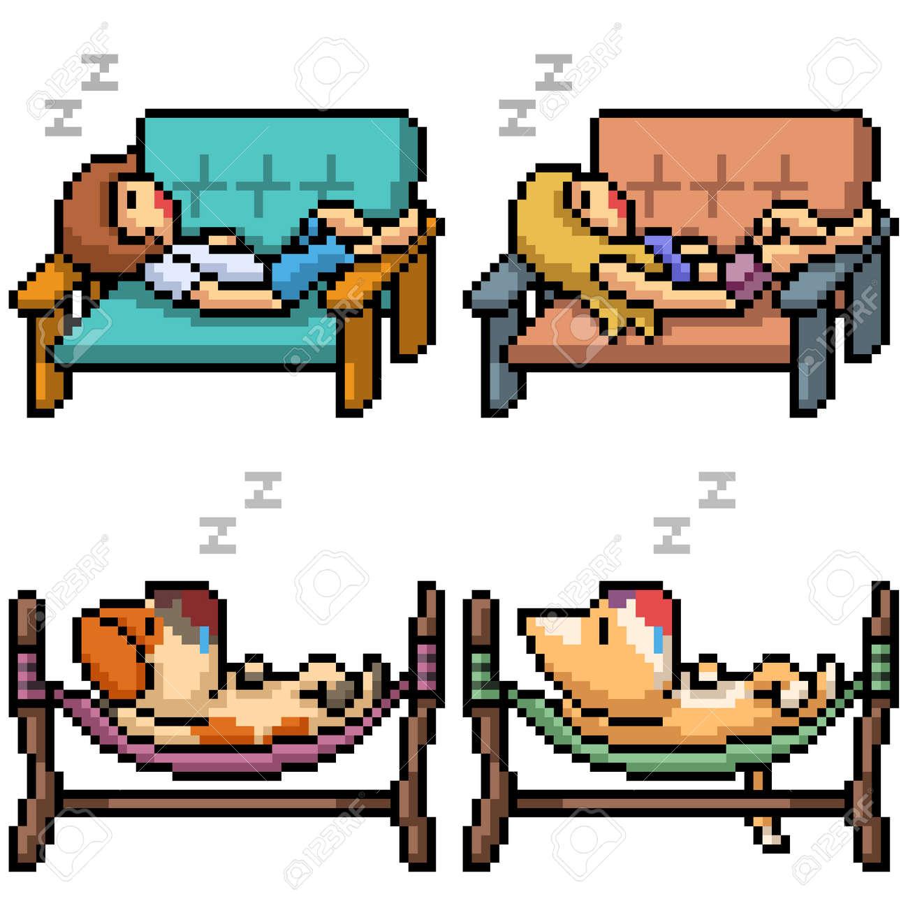 pixel art of people animal take a nap - 169836186