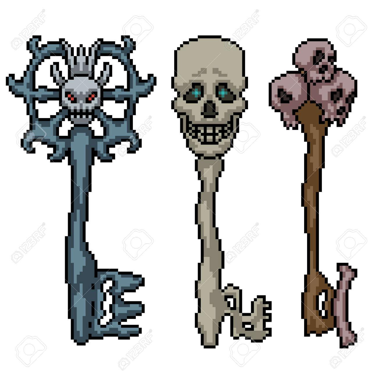 pixel art of fantasy skull key - 169836190