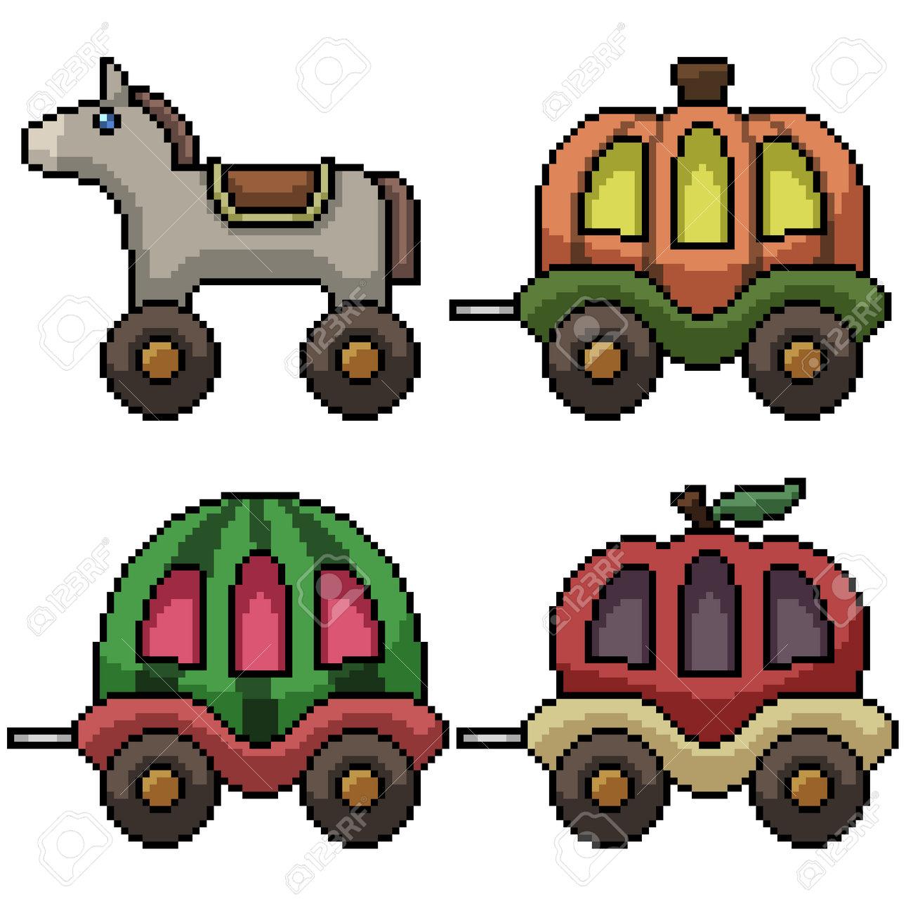 pixel art of fancy carriage toy - 169836192