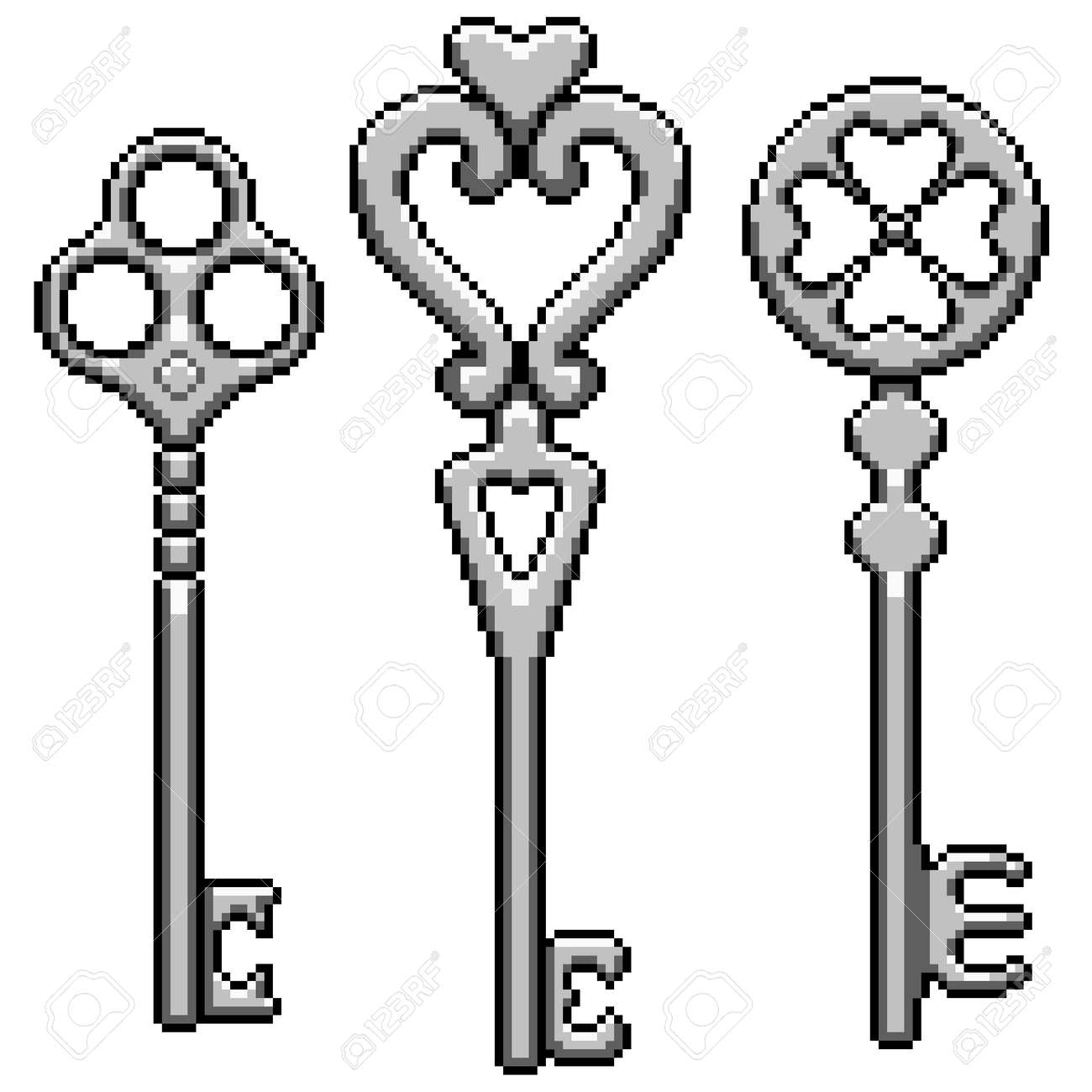 pixel art of fantasy metal key - 169836195