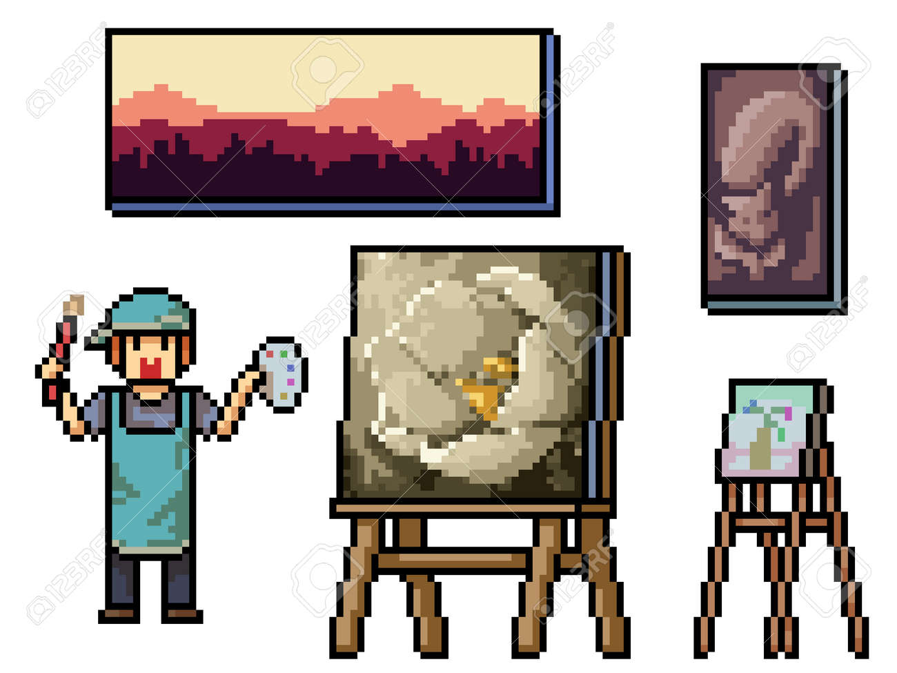 pixel art of traditional painting artist - 170092944