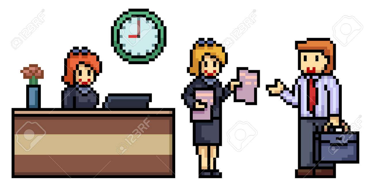 pixel art of office worker scene - 170095911