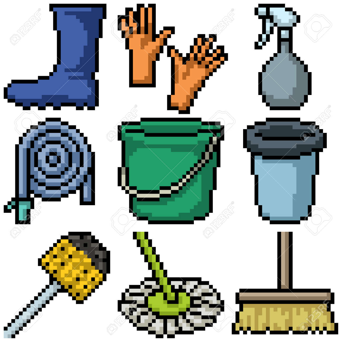 pixel art of house cleaning tools - 171272453