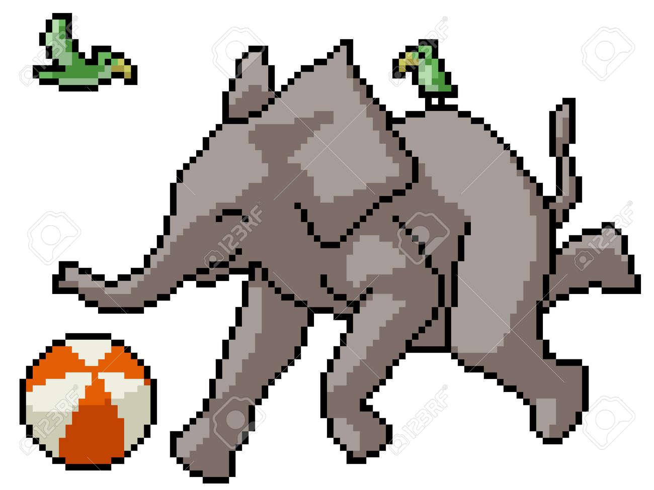 pixel art of happy elephant playing - 172134649