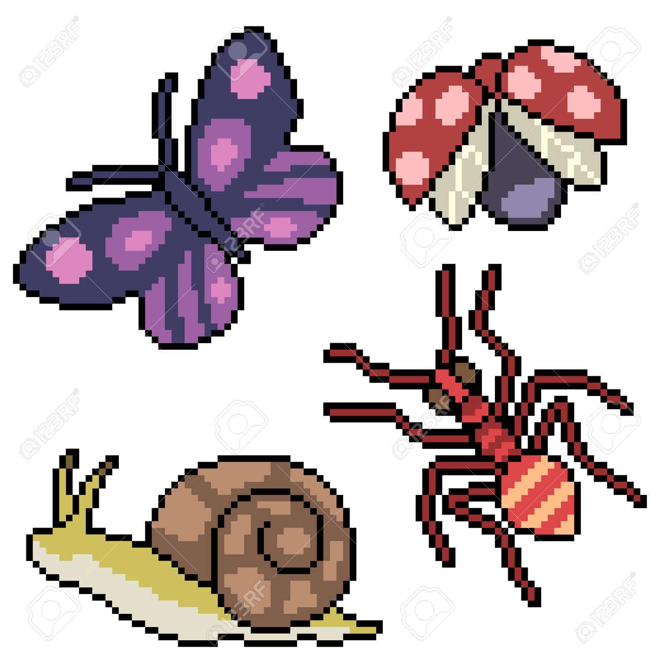 pixel art of small garden bugs - 172135012