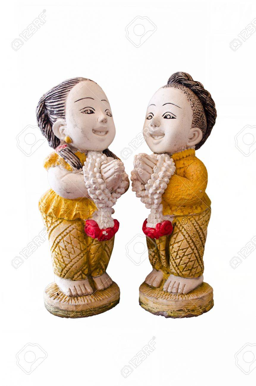 Two Thai Dolls A Boy And A Girl Made From Ceramic In The Act