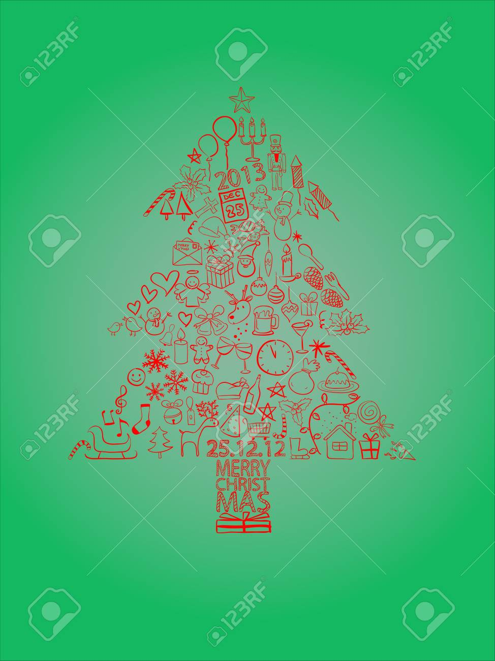 Red Christmas tree consisting of Christmas symbols with the green background Stock Vector - 16313134
