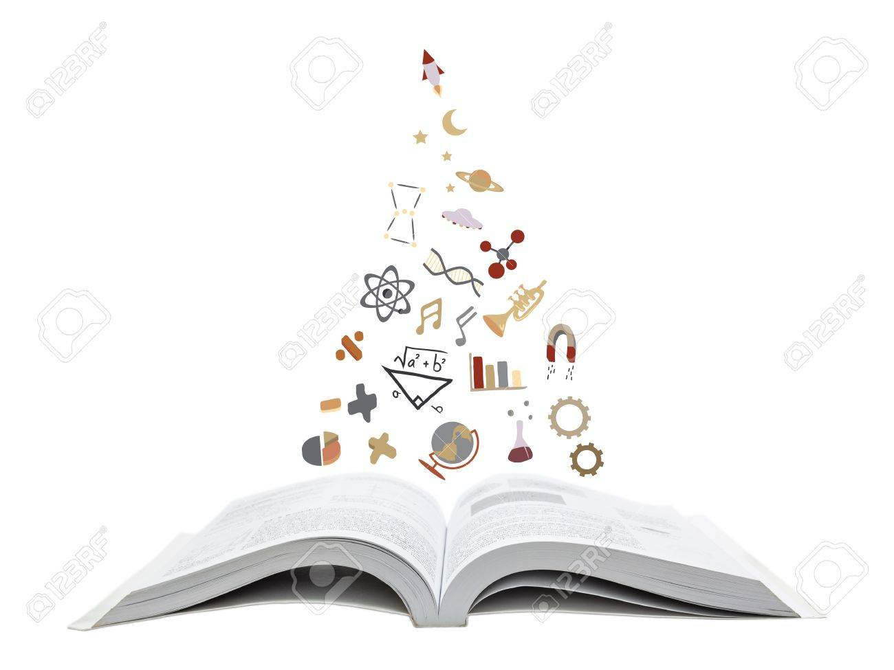 Symbols of knowledge in many branches floating from a book Stock Photo - 17755799
