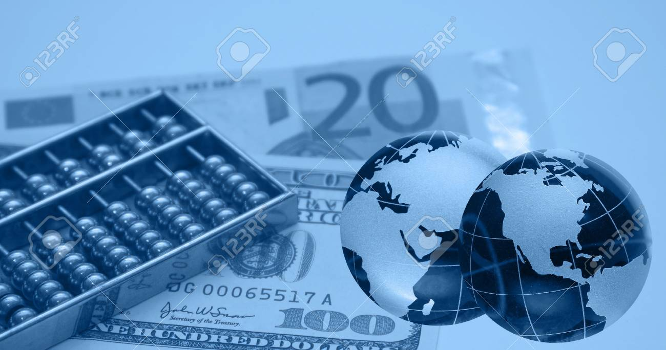 Montage of financial theme, blue ::Note for reviewer-I am owner of photos used in the montage Stock Photo - 706321